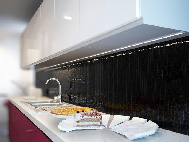 Кухня Россо в современном стиле с фасадами из МДФ