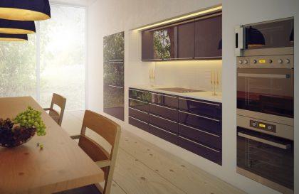 Кухня Simona с акриловыми фасадами в современном стиле