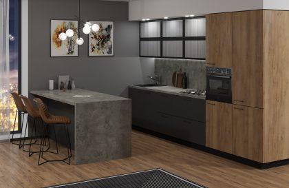 Кухня Терра с матовыми фасадами из МДФ с акриловым покрытием