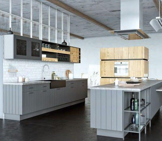 Кухня Loft Eko с фасадами из МДФ облицованными шпоном