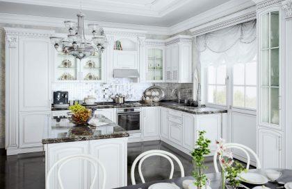 Кухня Леман с фасадами из массива дерева в стиле Классика