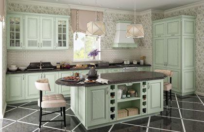 Кухня Симона с фасадами из массива ясеня в стиле Кантри