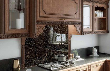 Кухня Мадейра с фасадами из массива ясеня в классическом стиле
