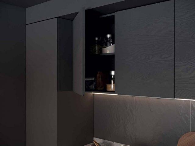 Кухня «Норд» с фасадами покрытыми шпоном ясеня