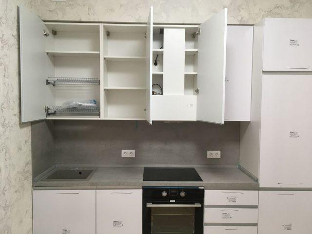 Прямая кухня Фуксия с алюминиевым профилем в стиле Хай-тек