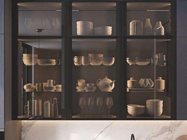 Кухня Индиго с фасадами облицованными шпоном ясеня