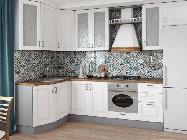 Кухня Мерано в классическом стиле с фасадами из МДФ с нанесением ПВХ